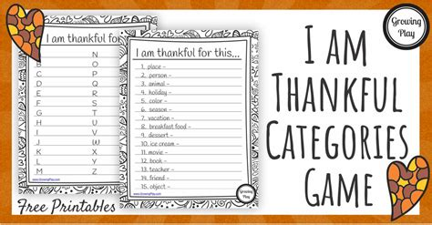 I Am Thankful Categories Game  Categories Games Index 3