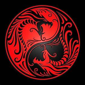Duvet Size Chart Canada Quot Yin Yang Dragons Red And Black Quot Posters By Jeff Bartels