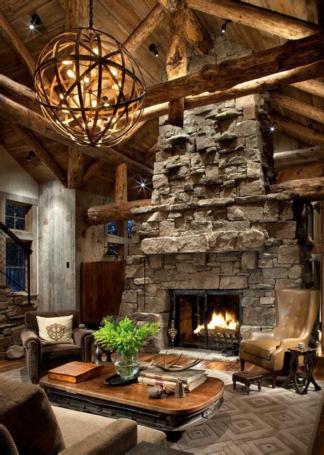 great room fireplace rustic living room