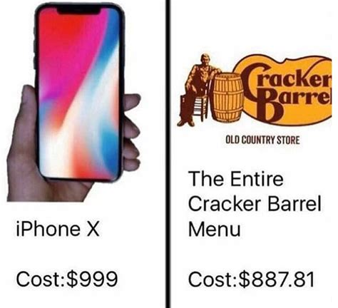 Iphone X Memes - iphone cracker barrel iphone x price comparisons know your meme