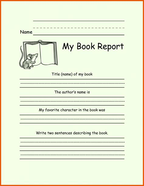 book report template book report template 1st to 5th grade