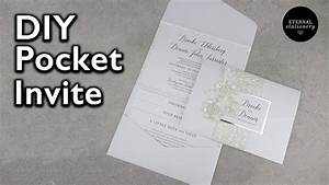 elegant pocket invitation with belly band diy wedding With diy pocket wedding invitations youtube