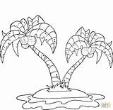 Coloring Palm Pages Island Trees Coconut Printable sketch template