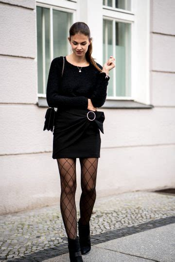 Black Skirt and Fishnet Tights || Casual Chic Outfit
