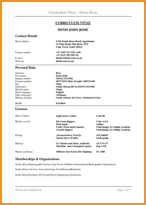 cv format in sa letter format mail
