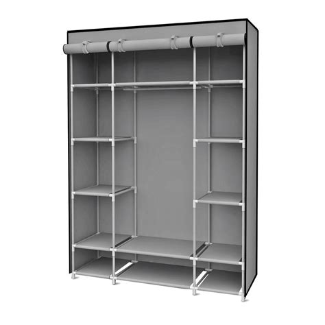 Portable Wardrobe by Sunbeam 18 In X 67 In Gray Storage Closet Portable