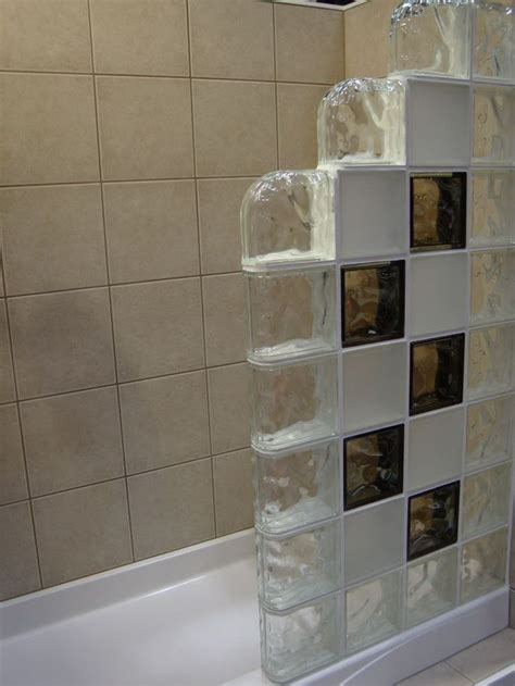 colored  frosted glass block shower wall  step