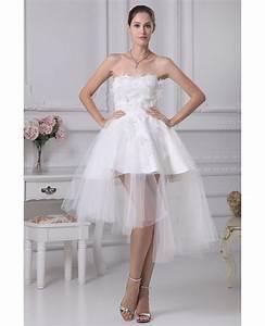 Cheap short wedding dresses tulle strapless beautiful for Short tulle wedding dress