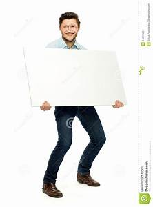 Man Holding Blank Poster Stock Photo - Image: 24301620