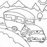 Caravan Camping Coloring Colouring Drawing Printable Theme Preschool Rv Met Vakantie Sheets Camper Kleurplaat Trailer Van Gypsy Colorable Tekening Craft sketch template