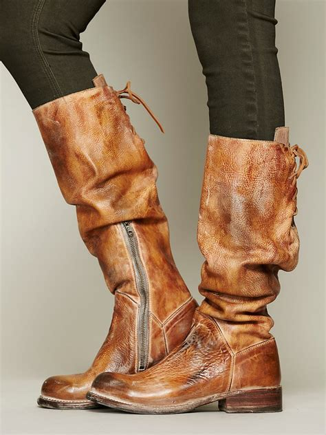 lyst bed stu manchester leather tall boots  brown