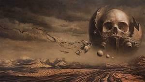 Wallpaper, Landscape, Fantasy, Art, Sky, Artwork, Dark, Fantasy, Skull, Mythology, Darkness
