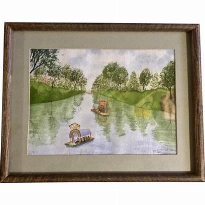 River Watercolor Painting Down Pizel Primitive Colorful