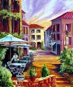 Cafe Scene Paintings   Mediterranean Scenes Cafe At Oceanside oil paintings on canvas,free