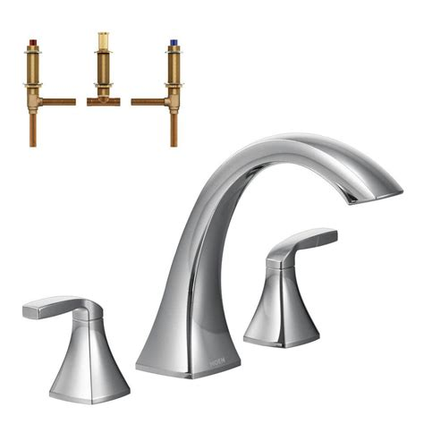 Moen Voss Faucet Specs by Moen Voss 2 Handle Deck Mount High Arc Tub Faucet