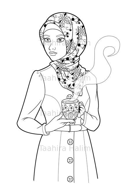 islamic coloring page featuring  cute hijabi muslim girl