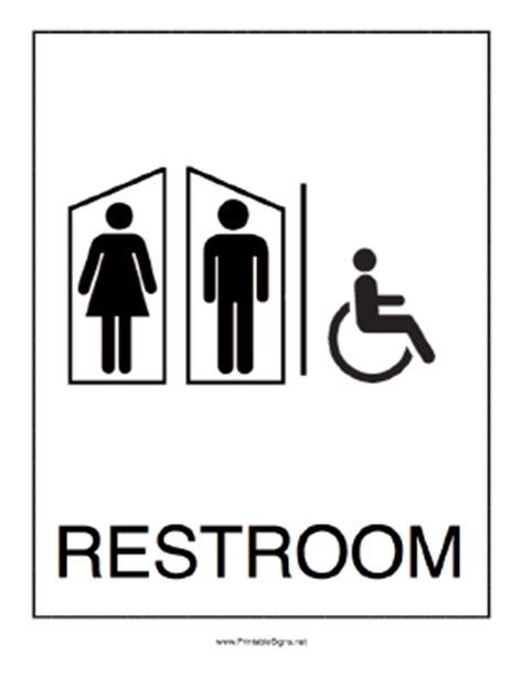 printable handicap bathroom signs printable handicapped restroom sign