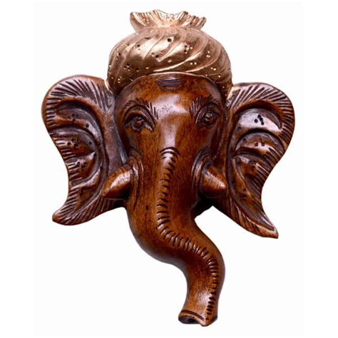 buy lord ganesha head wall hanging teak wood sculpture