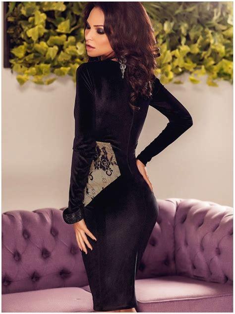 Women Bodycon Black Long Sleeve Midi Dress Online Store