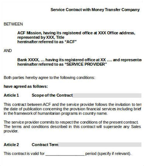 Service Provider Agreement Template by Service Contract Templates 18 Free Word Pdf Documents