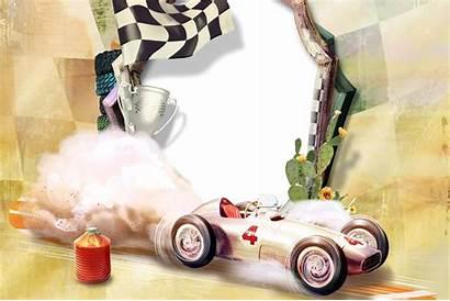 Frames Cars Racing Printable Invitations Cards Retro