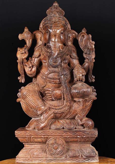 SOLD Large Wooden Ganesha Statue 30