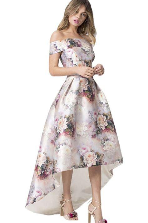 white floral shoulder chic high low dress 047927