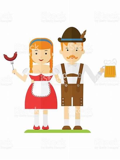 Bavarian Clipart Dirndl Couple Beer Austrian Clip