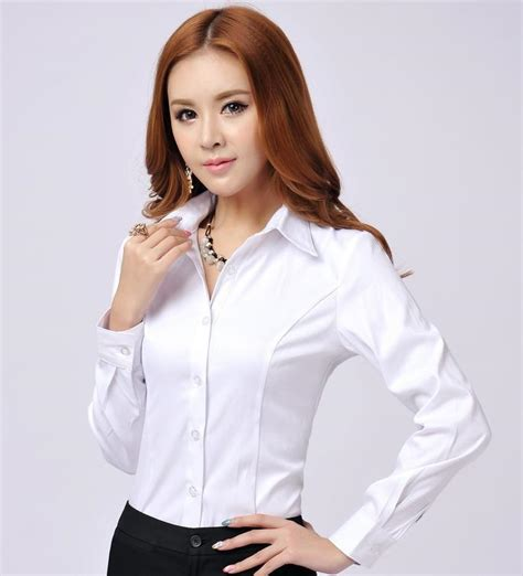 womens white blouse sleeve 2015 autumn novelty formal shirts