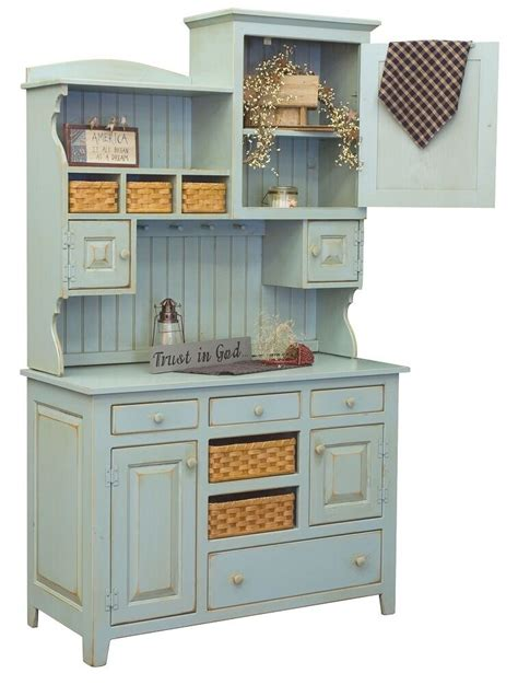 primitive farmhouse kitchen hutch pantry cupboard distressed painted wood ebay