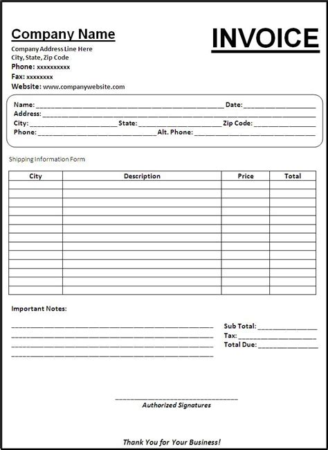 invoice templates  word templates