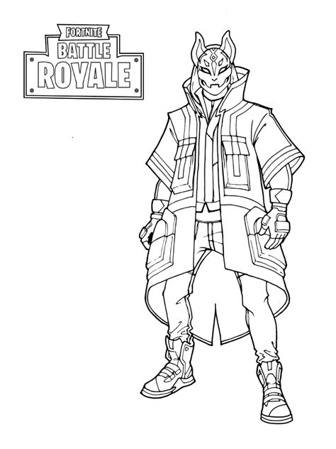 fortnite coloring battle royale pages printable kitsune sheets games coloringonly