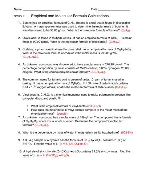 empirical formula worksheets worksheets for all