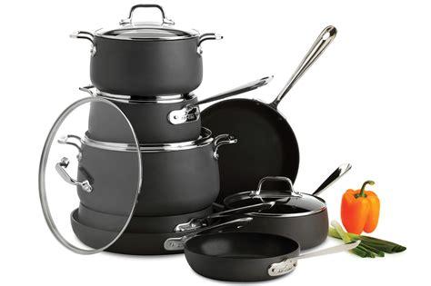 clad ha nonstick cookware set  piece pots  pans cutlery
