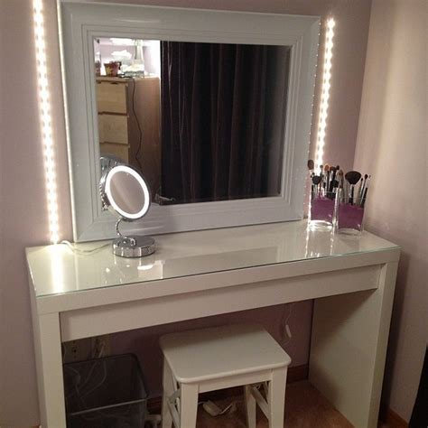 makeup vanity table with lighted mirror ikea mugeek