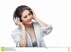 Young Beautiful Woman Enjoy Listening To Music With Big ...