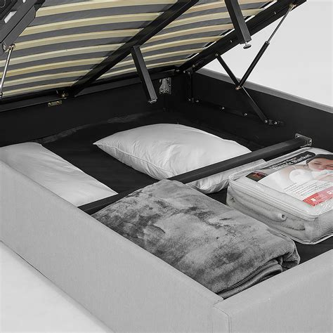 Bed Frame With Fabric Headboard by Buy Fabric Gas Lift Bed Frame With Headboard Grey