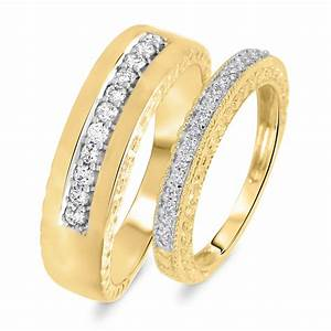 1 2 ct tw diamond his and hers wedding rings 14k yellow With gold wedding rings his and hers