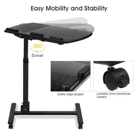 adjustable mobile laptop desk portable rolling mobile laptop side table cart adjustable