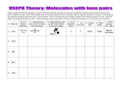 Vsepr Theory Molecules With Lone Pairs 9th  12th Grade Worksheet  Lesson Planet