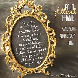 gold and glittered frame and print 50th anniversary With 50th wedding anniversary gift