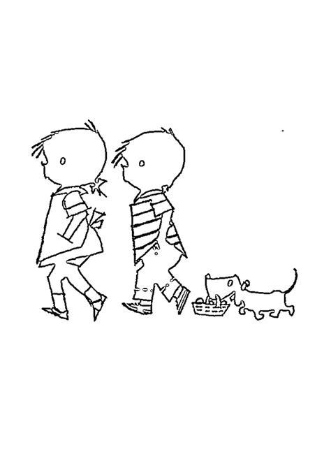 Wandelen Kleurplaat by Jip En Jannke Met Hond Wandelen Jip En Janneke