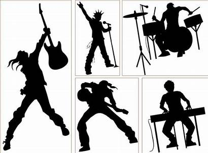 Rock Band Silhouette Clipart Vector Decorative Wall