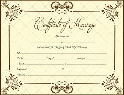 blooming flowers marriage certificate template  word