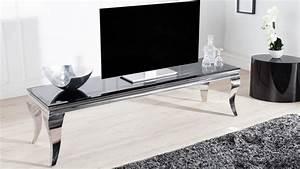 Banc Tv Design : meuble tv design baroque noir 160 cm pieds chrom s zita gdegdesign ~ Teatrodelosmanantiales.com Idées de Décoration