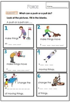 force worksheet     science worksheets