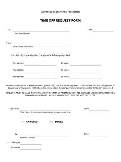 time off request policy template request time off template letter exles form excel