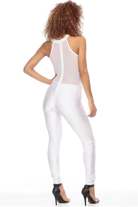 all white jumpsuit for all white mesh panel con jumpsuit