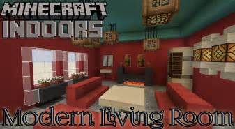 modern living room in red minecraft indoors interior
