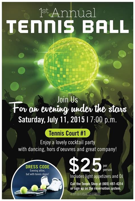 tennis ball party poster flyer event template tennis